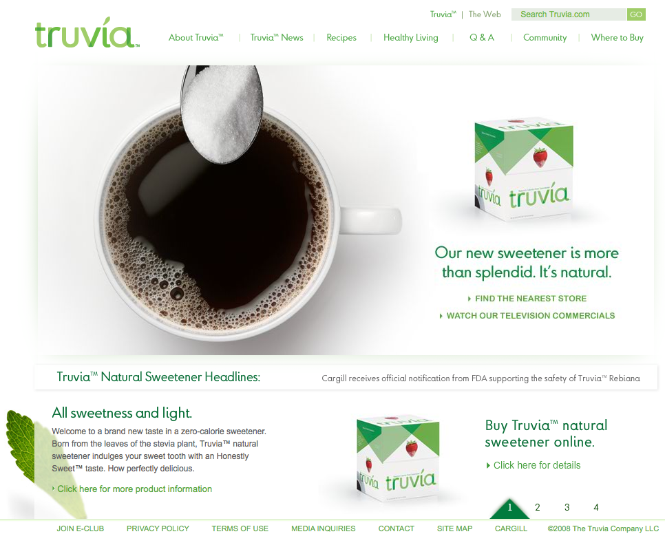 Truvia website